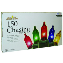 150 Chasing Lights Straight Line Set Multi Bulbs & Green Wire