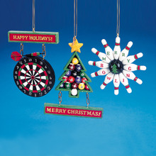 Kurt Adler Dart Board, Bowling or Billiards Ornaments #W1737