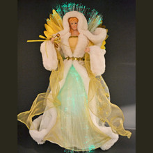16in White & Gold Fiber Optic Angel