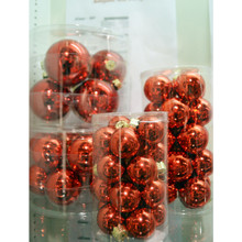 Solid Glass Ball Ornament in Arrogant Red Candy, 6-Pack