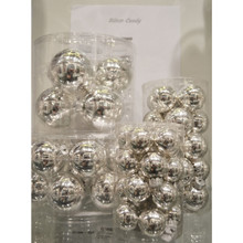 Solid Glass Ball Ornament in Silver Candy, 6-Pack