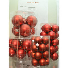 Solid Glass Ball Ornament in Santa Red Matte, 6-Pack