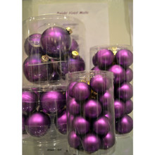 Solid Glass Ball Ornament in Bright Violet Matte, 6-Pack