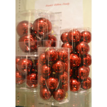 Solid Glass Ball Ornament in Scarlett Ribbon Candy, 6-Pack