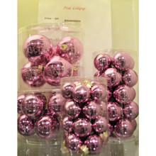 Solid Glass Ball Ornament in Pink Lollipop, 6-Pack