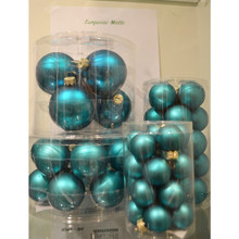 Solid Glass Ball Ornament in Turquoise Matte, 6-Pack