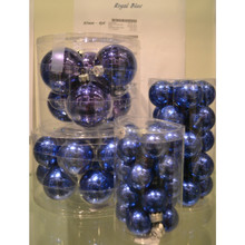 Solid Glass Ball Ornament in Royal Blue Candy, 6-Pack