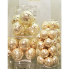 Solid Glass Ball Ornament in Gold Ice Crystal, 6-Pack