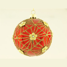 Gold Glitter Design Decorated Glass Ball Ornament, 4-Pack