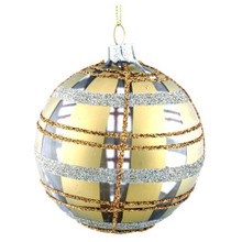 Gold & Silver Plaid Decorative Mouth Blown Glass Ornament, 4-Pack