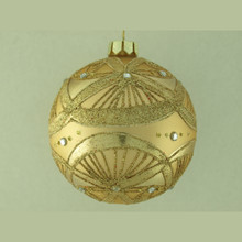 Matte Gold Glass Ball Ornament in Gold Glitter & Silver Jewels, 4-Pack