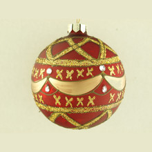 Red with Gold Glitter Design Decorative Glass Ball Ornament, 4-Pack
