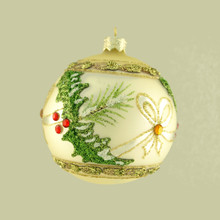 Ivory Glass Ball Ornament with Holly Bow Design, 4-Pack
