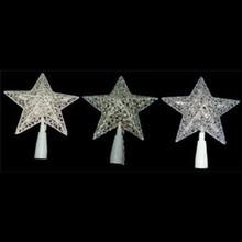 10-Light Glittered Star Tree Topper, 3 Assorted