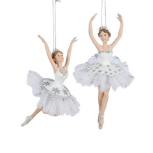 Kurt Adler Silver & White Ballet Ornament, 2 Assorted #C8869
