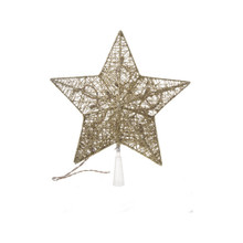 Lighted Glittering Thread Star Tree Topper in Gold