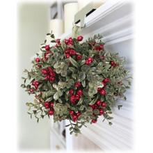 10in Mistletoe Kissing Ball Ornament in Evergreen #KK04