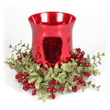 8in Red Glass Tea Light Holder with Floral Ring Set #KK19
