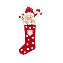 Rudolph & Me Baby Long Stocking in Red Personalized Ornament #1422R
