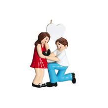Rudolph & Me Engaged Brunette Couple Personalized Ornament #807B