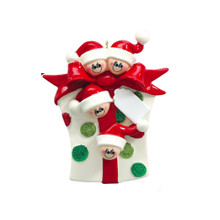 Rudolph & Me Glitter Gift Family of 4 Personalized Ornament #907-4