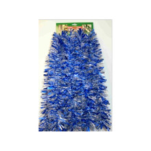 12ft Tinsel Garland in Royal Blue with Silver and Snowflakes #3F-40S