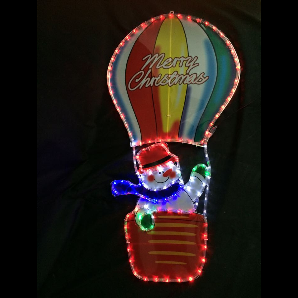 Led rope light snowman in hot air balloon aloadofball Images