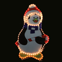 LED Rope Light Penguin with Candy Cane