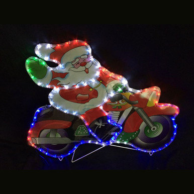 Led rope light santa on motorcycle house of holiday led rope light santa on motorcycle image 1 aloadofball Choice Image