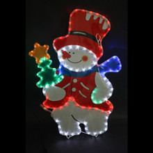 LED Rope Light Snowman with Christmas Tree