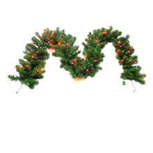 "9ft x 12"" Kentucky Pine Green Garland with 100 UL Multi Lights"