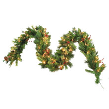 9ftx 12in Sierra Pine Garland with Berries, Cones, Twigs & Clear Lights