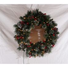 30inMixed Pine Wreath with White Cones, Red Ball, Berries, Clear Lights