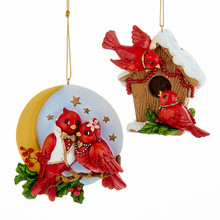 "Kurt Adler 4.5"" Resin Red Bird Couples Ornament, 2 Assorted #C6704"