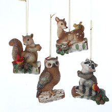 "Kurt Adler 3.25"" Resin Animal Ornaments, 4 Assorted #TD1319"