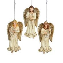 "Kurt Adler 5.25"" Platinum Angel Ornament, 3 Assorted #C8957"