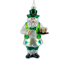 Kurt Adler 5.75in Glass Irish Santa Ornament #T2015