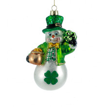 "Kurt Adler 5"" Glass Irish Snowman Christmas Ornament #TD1498"
