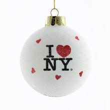 """Kurt Adler 80mm Glass """"I Love NY""""  Ball #NY0708"""
