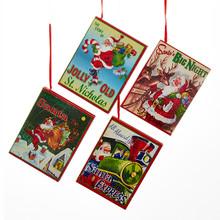 Kurt Adler 4in Wooden Christmas Book Ornament, 4 Assorted #C5463