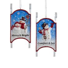 Kurt Adler 5in Snowman on Sled Ornament, 2 Assorted #C9216