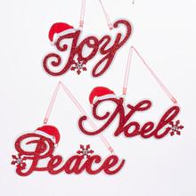 Kurt Adler 5.1in Wood Joy Noel & Peace Ornament, 3 Assorted #D2958