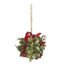 Kissing Krystals Red Bird Mistletoe Ornament #KK210