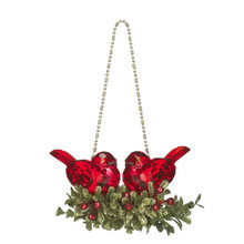Kissing Krystals Double Red Bird Mistletoe Ornament #KK211