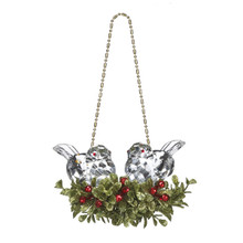 Kissing Krystals¨ Double Clear Bird Mistletoe Ornament #KK212