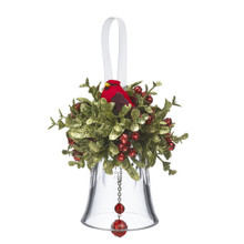 Kissing Krystals Mistletoe Bell & Cardinal Ornament #KK214