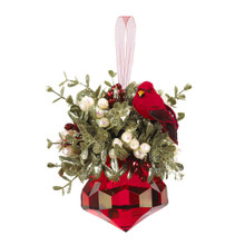 Kissing Krystals Mistletoe Cardinal Jewel Ornament #KK253