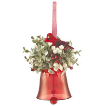 Kissing Krystals Mistletoe Red Bell & Cardinal Ornament #KK269