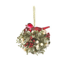 Kissing Krystals Mistletoe & Bird Ball Ornament #KK279