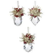 Kissing Krystals Mistletoe Ornament, 3 Assorted #KK201